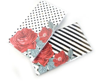 Choice of mini planners - Modern Roses - choose dots or stripes - 2 year planners 2018 - 2019 elegant floral pocket planner stocking stuffer
