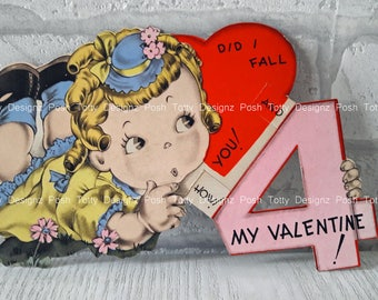 Vintage 1930's Did I Fall 4 You Little Girl Valentine's Greetings Card (B17)