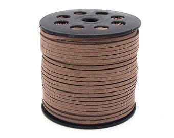 Suede cord 3mm light brown in packs of 2/5/8/10 m
