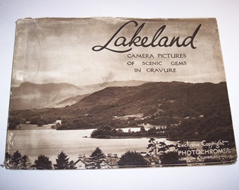 LAKELAND England Photos in Gravure, 1920s Sepia Tone Art Book, Scenic Photography, Antique, William Wordsworth Poet Quotes