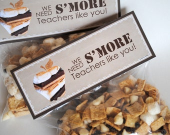 INSTANT DOWNLOAD (Digital) Teacher Appreciation Gift - We Need S'more Teachers Like You Folded Favor Tag