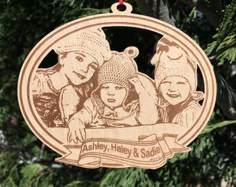 "5 "" Custom photo ornament - laser cut and etched wood"