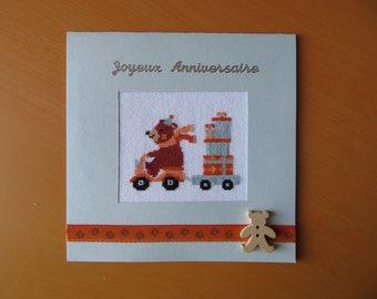 Hand embroidered card: bear scooter