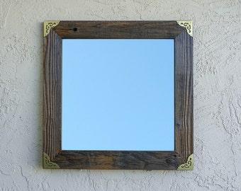 Reclaimed Wood Mirror with Gold Corners. Rustic Mirror. Wooden Rustic Decor. Framed Mirror. Bathroom Mirror. Framed Mirror. Wedding Gift