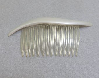 1970s White Plastic Free Form Hair Comb, Vintage