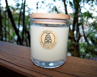 Soy Australian Wattle Scented Artisan Glass Container Candle Wooden Lid Handmade