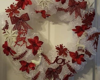 Red and White Snow Christmas Wreath