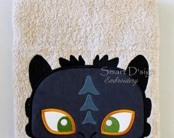 "Baby Dragon Peeker Applique 13x18cm 5x7"" Hooded Towel Embroidery Design Stickdatei"