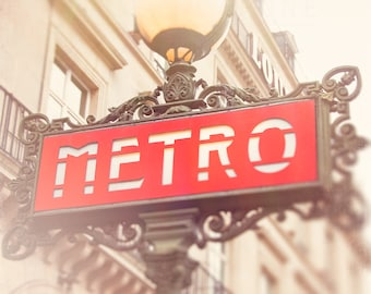 Photograph of a Red Paris Metro Sign at the Louvre, Parisian Decor, Travel Photography, Landscape Wall Art Print, Romantic Home, France