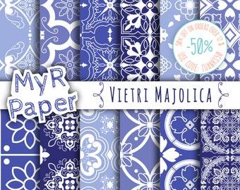 "Majolica Digital Paper: ""Vietri Majolica"" Neapolitan Majolica, Moroccan, Arabesque, Light Blue, Azure & White"