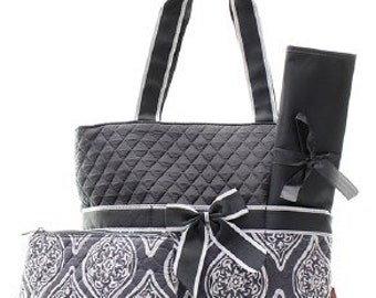 Quilted Garden Vine 3pc Diaper Bag Set WITH FREE MONOGRAM