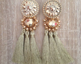 Classy original earrings with fringe and Bohemian beads
