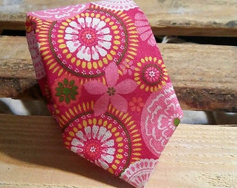 Pink and Kiwi Floral Necktie, Abstract Floral Necktie, Summer Necktie,