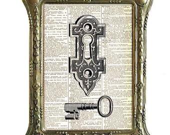 SKELETON KEY and Keyhole art print Victorian Edwardian wall decor vintage dictionary book page Door Lock  Skeleton Key black white 8x10, 5x7
