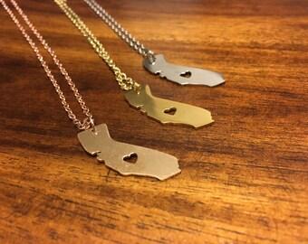 California Necklace - California Pendant - California Charm - California Outline - California Jewelry - Cali Necklace - Cali Jewelry - Cali