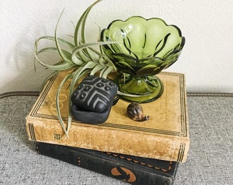 Boho Vintage Green Glass Candy Dish Airplant Home