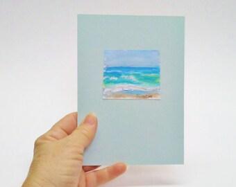 Beach art, tiny seascape, fits in a 5x7, mini beach art, beach mini, hostess gift, beach lovers gift, fits standard frame size, snippet art