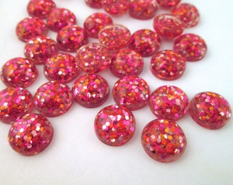 10 12mm Multicolor Resin Glitter Cabochons, mixed color cabs H306