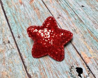 Red Glitter Star Clip - Puffy Star Barrette