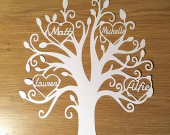 Personalised paper cut family tree, family gift