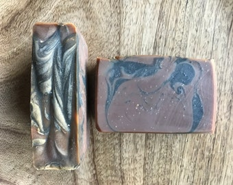Tobacco and Amber soap - tobacco scent, amber scent, swirled soap, masculine scent, unisex scent, bar soap, vegan, handcrafted, handmade