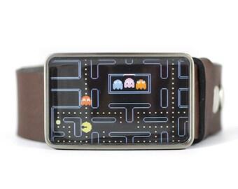 Pac Man Belt Buckle, Geek Belt Buckle, Video Game belt buckle, Men's belt buckle, gift for him, Father's day gift, gift or dad