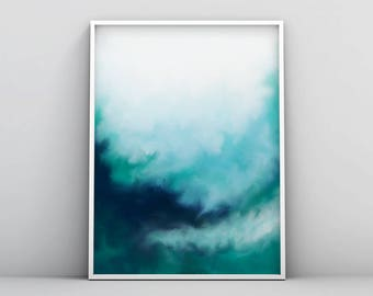 Modern Teal Wall Art, Abstract Teal Print, Teal Watercolour, Blue Green Printable, Digital Download, Instant Download, Minimal Teal Painting