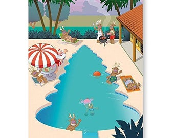 Pool Christmas Tree Holiday Card - 18 Cards & Envelopes - 30010