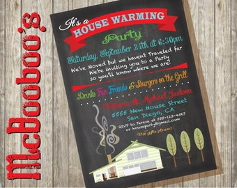 Chalkboard House Warming Party Invitations