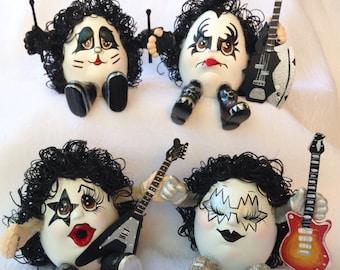 KISS BAND/4 MEMBERS/Ceramic Handmade/Unique Collectible/Rock&Roll MemorabiliaDolls/Heavy Metal Gift/Unique Music Lover's Gift /Shock Rock!