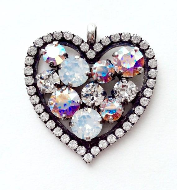 Swarovski Crystal - Valentine Heart   Beautiful Bridal Whites - White Opal, Radiant Crystal, & Aurora Borealis   FREE SHIPPING - SALE - 35.