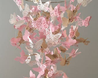 Butterfly  Mobile, in pink white and dark gold/ Baby mobile, nursery mobile, baby girl mobile, mobile, butterfly mobile,