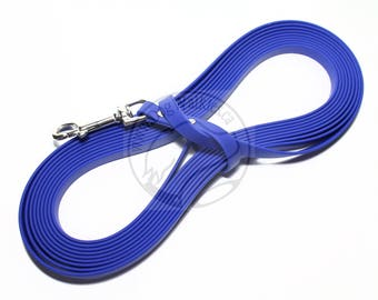 "Royal Blue -   Waterproof Long Line - 1/2"" (12mm) wide Genuine Biothane - Tacking Line Recall Leash - Choice of hardware and length"