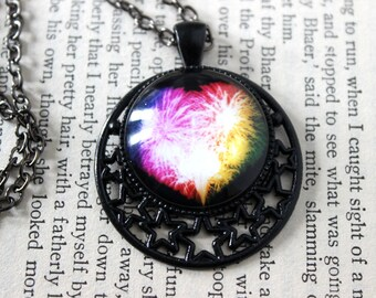 Rainbow Fireworks Heart Cabochon Black Necklace in Celestial Setting