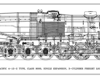 Union Pacific 4-12-2 Type 3-Cylinder Locomotive Drawing - Side View