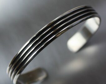 Mens Bracelet, Wide Cuff, Silver, Litecoin Accepted