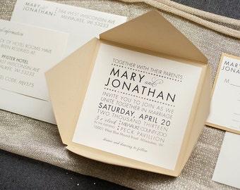 Glam Square Wedding Invitation, Gold Wedding Invitation, Modern Invitation Suite, Unique Wedding Invite, Fancy, Luxury | Mary & Jonathan