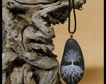 Tree of Life, River Rock, Pendant, Necklace, Copper wire bail, Tear Drop Shape