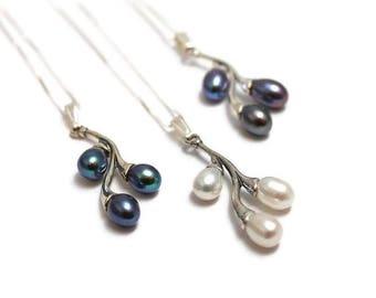 Necklace sterling silver freshwater pearl, Berries, elegant, boho, bride, rustic, rocker, stylish, for her,lissie design,ships free