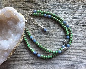 Green and blue glass beaded double strand bracelet