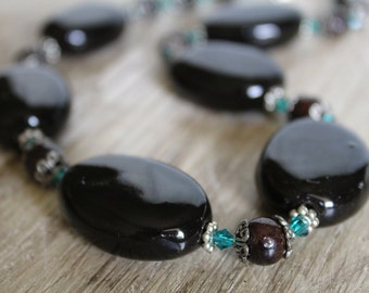 Black Porcelain, Garnet, and Turquoise Crystal Statement Necklace / Big Chunky Necklace / Black Necklace / Gifts for Her / Gifts for Women