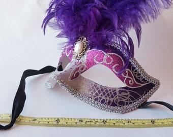 Purple Sparkly Feathered Mardi Gras Half Face Mask