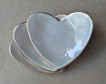 THREE Taupe Heart Ring Bowls 2 1/2 inches itty bitty edged in gold