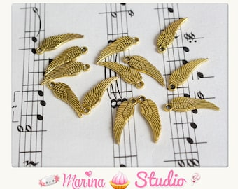 10 wings very detailed antique gold - gilded old 17x5mm n1194555