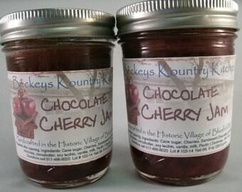 Two Jars Chocolate Cherry jam homemade by Beckeys Kountry Kitchen jelly fruit spreads preserves