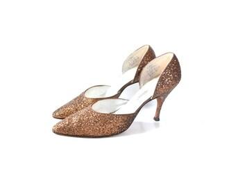 Bronze Shoes, 1950s Shoes, 50s Shoes, Glitter Shoes, Vintage Shoes, Womens Shoes,  Size 6 Shoes 55 Bronze Heels, Bronze Pumps, Glitter Heels