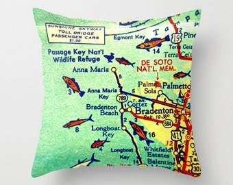 Florida Map Pillow, Anna Maria Island Map, Bradenton Map Throw Pillow Cover 18x18, Anna Maria Pillow Longboat Key, Bradenton Florida Pillow