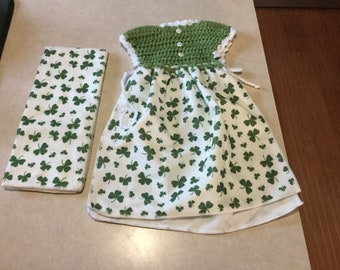 Hand made Crochet Clover Kitchen Towel set