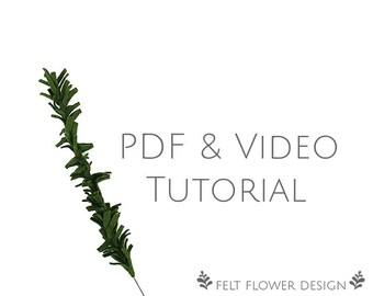 Flower tutorial - pine stem - PDF tutorial - felt