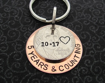Custom Stamped Nickle Key Chain, Date, 5 Years & Going Strong, Personalized